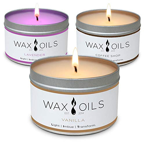 Scented Candles (Lavender, Vanilla, Coffee Shop 3-Pack) 8oz