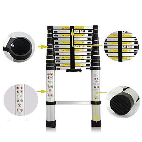 12,5 ft Telescopische Ladder Aluminium Telescopische Verlenging 12 Stappen Multi Purpose Ladders EN131 Gecertificeerd Uitschuifbaar Anti-slip - 330 lb Max Capaciteit