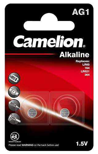 Camelion 12050201 Alkaline Knopfzellen ohne Quecksilber AG1/LR60/LR621/364/1,5 Volt, 2er-Pack