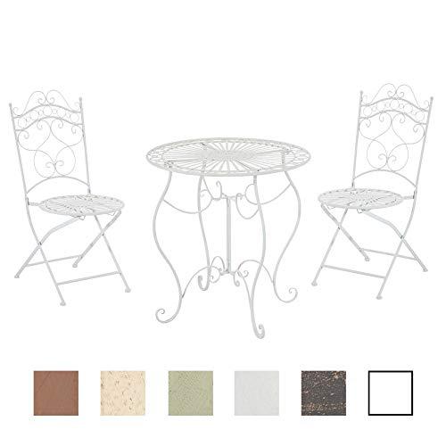 CLP Garten-Sitzgruppe Indra I Zwei Klappstühle Und EIN Tisch I Pflegeleichte Gartenmöbel Aus Eisen Im Jugendstil, Farbe:weiß