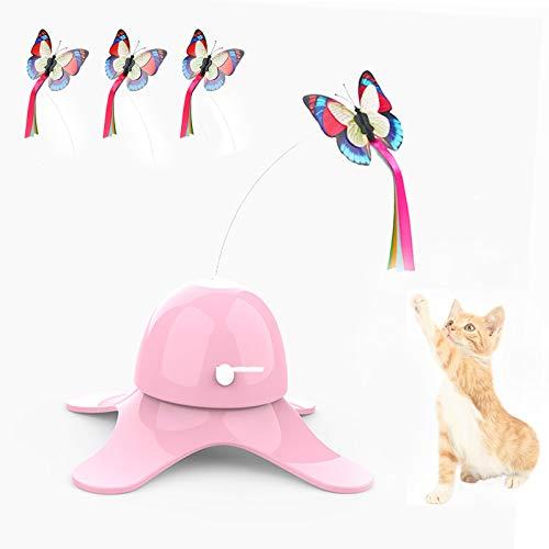 SHUANGJUN Juguete Interactivo de Mariposa para Gatos, Juguetes para Gatos Interactivos, con Tres Mariposas de Repuesto Juguete Electricos Giratoria de 360 °, para Gatos de Interior, Gatitos (R