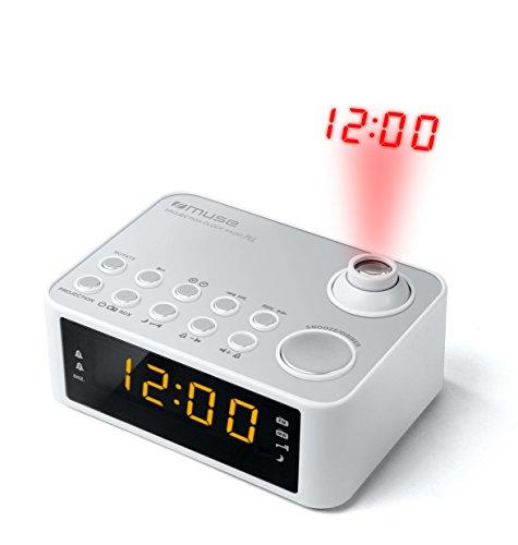 Muse M-178 wekker met tijdprojectie wit
