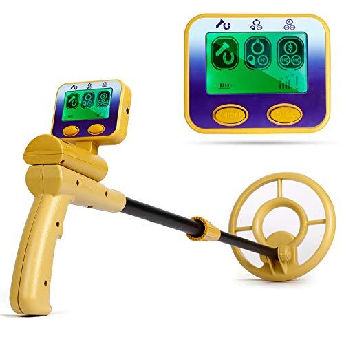 INTEY Pantalla LCD con Detector de Metales y Pantalla de Señal de Audio | Bobina de Búsqueda a Prueba de Agua | Detector de Metales de Alta Sensibilidad para Niños, Principiantes y Adultos.