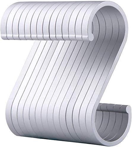 S Haken, 12 Stück Fleischerhaken Schwarz S-Förmige Haken, Anti-Rost Metall Aufhängen S-Haken Garderobe Haken für Küche, Bad, Schlafzimmer, Büro und Garten (Weiß)