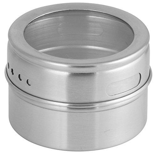 Fackelmann Magnetische Gewürzdose, Vorratsdose mit Streuöffnungen, Aufbewahrungsdose aus Edelstahl (Farbe: Silber/Transparent), Menge: 1 Stück