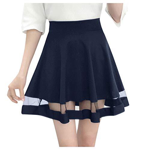 Toamen Women Basic Versatile Stretchy A-line Flared Casual Mini Skater Skirt Mesh Panel High Waist Pleated Swing Skirts(Navy,XL)