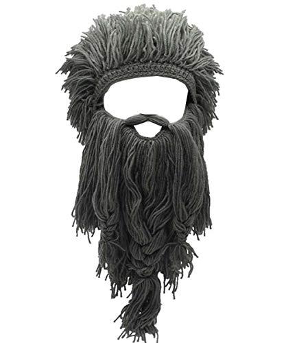 Barbar Knit Long Beard Hut Adult Viking gefälschte Haar Perücke Visor gestrickte Wolle lustige Schädel Cap
