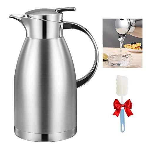 FZYE Termo de 1,8/2,3 litros Jarra de café de Acero Inoxidable Jarra de café con Aislamiento al vacío de Doble Pared Jarra térmica para el hogar y la Oficina al Aire Libre, 1.8L