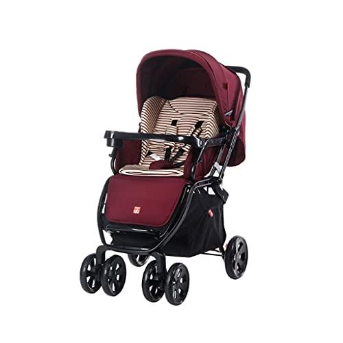 QIFFIY Cochecito, Puede Sentarse en el Paraguas reclinable Ultra Light Portable Portable Portable One Key Cochecito automático de automóviles Plegables (Color : Wine Red)