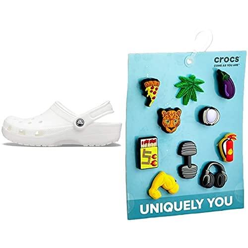 Crocs Classic, Zuecos Unisex Adulto, White, 36/37 EU + Get Swole 10 Pack, Encantos para Zapatos Unisex Adulto, Multicolor