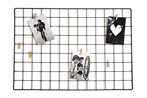 Spetebo Metall Gitter Fotorahmen + 6 Holz Klammern - 65x45 cm - Fotohalter Bilderrahmen