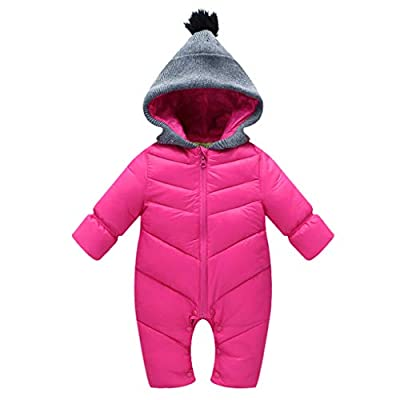 Uobzyaq Baby Boys Girls Hooded One-Piece Puffer Winter Down Snowsuit Jumpsuit Overcoat Rose Red Size L (12-18 Months)