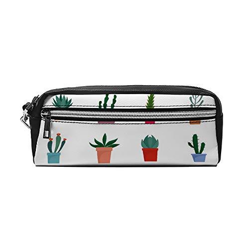 Succulente en Cactus Bloemen Pictogrammen Set Platte Stijl PU Lederen Potlood Case Make-up Tas Cosmetische Tas Potlood Tas met Rits Reizen Toilettas voor Vrouwen Meisjes