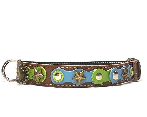 Superpipapo Hunde-Halsband, Handmade Braun Leder für Kleine und Mittelgroße Hunde, Edel mit schönen Hellblau Grün Pastell Farbige und Elegante Steine, 40 cm S: Halsumfang 30-35 cm, Breit 15mm
