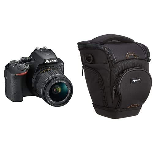 Nikon D5600 + AF-P DX NIKKOR 18-55 mm f/3.5-5.6 G VR, 24.2 Megapixel, SD 8 GB 300x Premium Lexar, Nero [Nital Card: 4 Anni di Garanzia] & AmazonBasics - Custodia per macchine fotografiche reflex, Nero