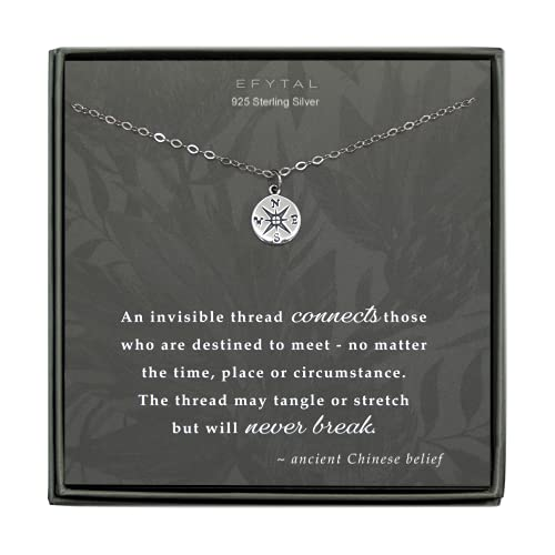 EFYTAL Best Friend Gifts, 925 Sterling Silver Compass Necklace for Bridesmaids, Friendship Gift for Bridesmaid, Gifts for Girlfriend or Wife