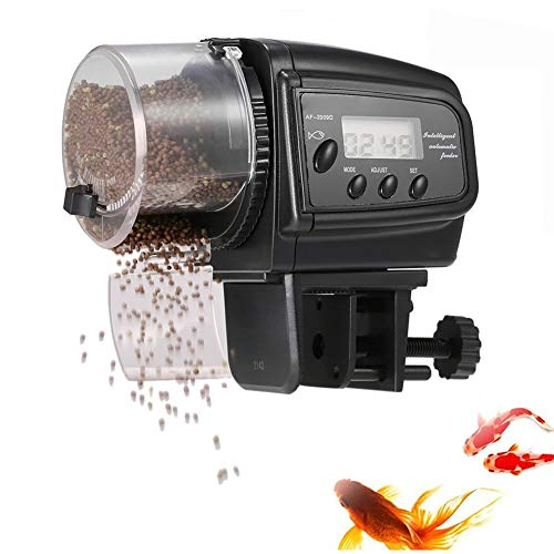 Cacoffay Digital Monitor Automático Pez Alimentador Dos velocidades Ajuste Pez Tortuga Alimentador para Acuario Pez Tanque Vacaciones Fin de Semana Pez Comida Dispensadores