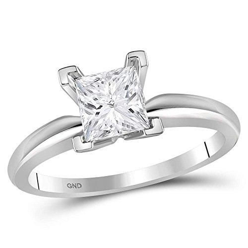 Jewels By Lux - Anillo de compromiso de boda de oro blanco de 14 quilates con diamante de princesa y solitario certificado para mujer, 1,00 quilates en 4 dientes (claridad I1, color J-K)