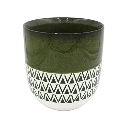 Stone & Beam Mid-Century Two-Toned Planter, 8.46'H, Dark Green
