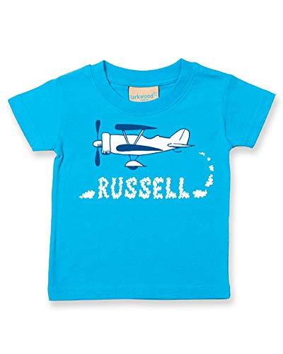 Ice-Tees T-shirt personnalisé pour bébé/enfant Motif Old Biplane - Turquoise - 2-3 ans
