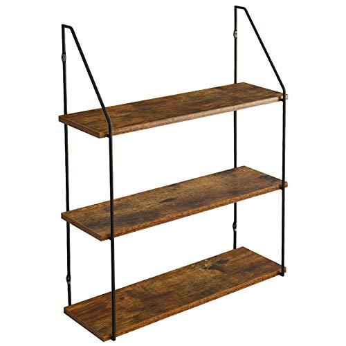 IBUYKE Wandregal 60x20.5x80 cm, Industrie-Design, Schweberegal 3 Etagen aus Holz und Metall, dekorative Regale, für Schlafzimmer, Wohnzimmer, Küche und Flur RF-TM012