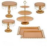 vevor oro alzata per torta set di 9 pezzi supporto per vassoi torte alzata per dolci decorazione da tavolo per festa di compreanno e matrimonio