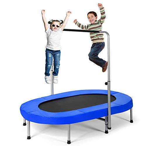 Giantex Mini Trampoline, 2 Persons Foldable Fitness Trampoline w/ 5 Levels Height Adjustable Handle, Max Load 330LBS, Indoor Oval Rebounder Exercise Trampoline for Adult, Kid, Enjoy Parent-Child Time