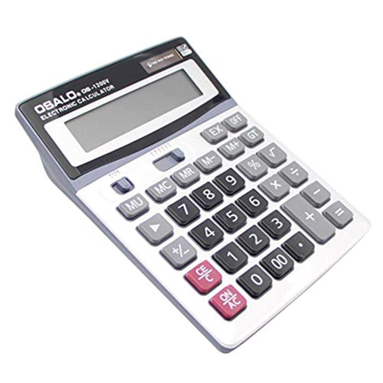 オサロ1200ボルト12桁多機能電子電卓大型ディスプレイ大きなボタンデュアル電源オフィス文具電卓 - ホワイト&グレー&ブラック