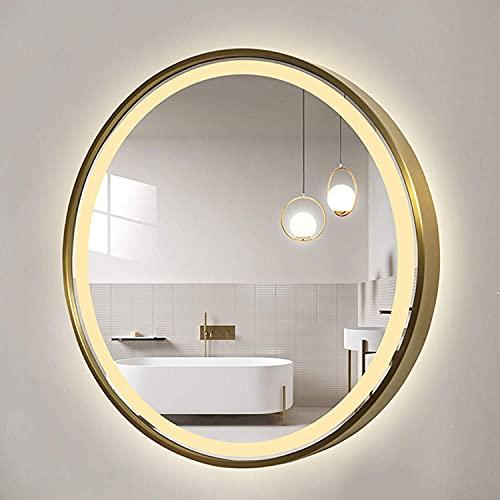 LZQHGJ YAWEN DIRIGIÓ Espejo Redondo de baño Iluminado   Espejo de vanidad con Marco de Acero Inoxidable   Espejo Decorativo con Interruptor táctil de iluminación (Negro, Oro)