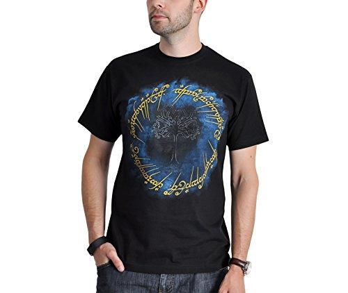 Herr der Ringe Ring der Macht T-Shirt großes Der Eine Ring Frontprint Baumwolle schwarz - L