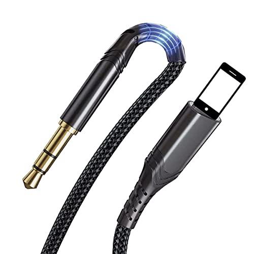 Cable Auxiliar para Phone a 3.5mm Cable AUX Compatible con 8 7 6 Plus 5s 5 SE X XS MAX XR 12 11 Pro Phone Pad a 3.5 mm Adaptador de Auriculares de Altavoz Estéreo de Automóvil (2 Metros)