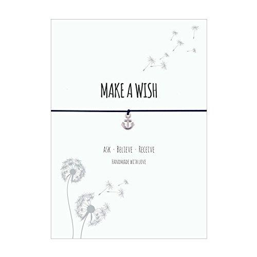 Glücksschmiedin Make a Wish – Bracciale con ciondolo a forma di ancora argentato, elastico in tessuto blu notte e biglietto amorevole: Ask-Believe Receive