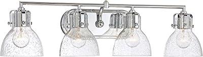 Minka Lavery Urban Industrial Wall Light Fixtures 5724-77 Transitional Bath Glass Bath Vanity Lighting, 4 Light, Chrome