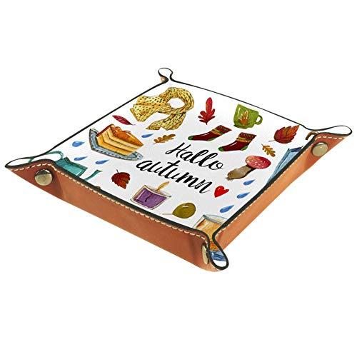 KAIXINJIUHAO Boîte de rangement Hello Autumn en cuir microfibre plat pour fournitures de bureau, articles de papeterie, gadgets divers, 16 x 16 cm