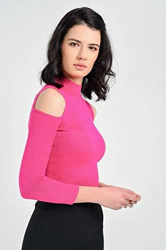 Women's Turtleneck Cut Out Shoulders Fuchsia Blouse SIZE- 36