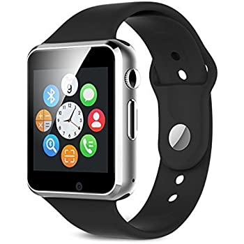 SPRING JUMP Wrist Bluetooth Smart Watch Compatible with All 4G Phone with Camera and Sim Card Support Compatible with All Android and iOS Smartphones (A1 Silver)