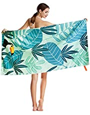 """CHARS Microfiber Quick Drying Beach Towel (30"""" x 60"""") with a Carrying Bag, Absorbent, Sand-Free, Lightweight for Kids, Teens, Adults, Travel, Gym, Camping, Pool, Yoga, Outdoor and Picnic (Flower)"""