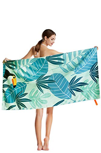 CHARS Microfiber Quick Drying Beach Towel with a Carrying Bag, Super Absorbent Towel, Sand Free Towel, for Kids, Teens, Adults, Travel, Gym, Camping, Pool, Yoga, Outdoor and Picnic