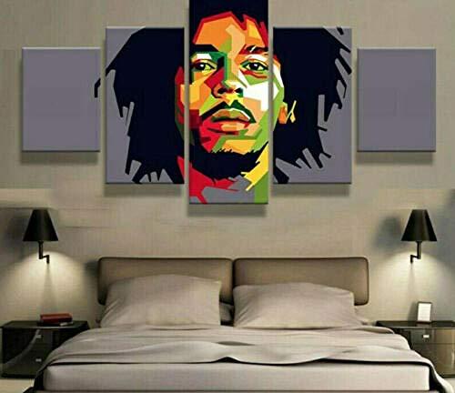 JJJKK 5 Pieza Cuadro sobre Lienzo Bob Marley Rasta Reggae Enmarcado y Listo para Colgar Moderno Decoracion de Pared Abstractos Impresión Artística