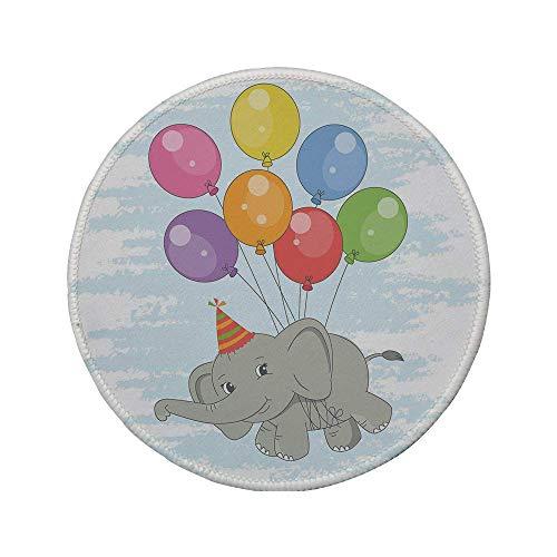 Rutschfreies Gummi-rundes Mauspad Elefantenkinderzimmerdekor lustiges fliegendes Säugetier mit bunten Luftballons und Partyhut Comic Art Dekorativ Mehrfarbig 7.9