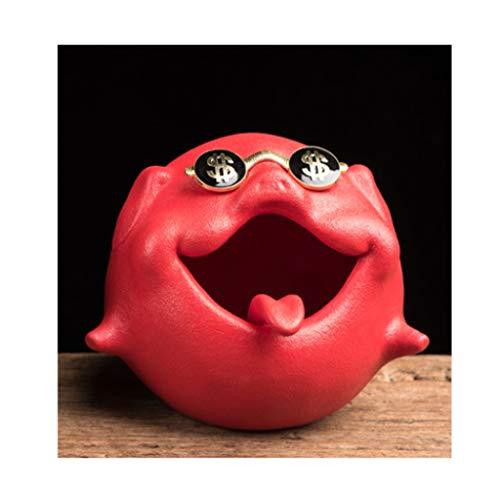didi Cenicero creativo de cerámica con dibujos animados, diseño de cerdo, cenicero de cerámica de gran capacidad, dos opciones de regalo (color: rojo)