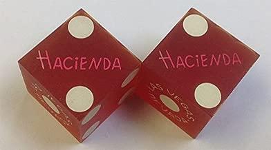 Pair of Used Hacienda Casino Red Dice Las Vegas Nevada Matching Logo 1980's