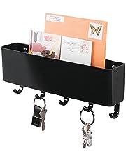 mDesign - Sleutelrek - sleutelorganizer/sleutelhouder - met plastic postbakje/modern/wandmodel - zwart