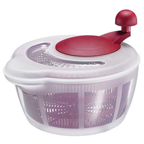Westmark Salatschleuder, Fassungsvermögen: 5 Liter, ø 26 cm, Kunststoff, BPA-frei, Fortuna, Farbe: Transparent/Rot, 2432224R