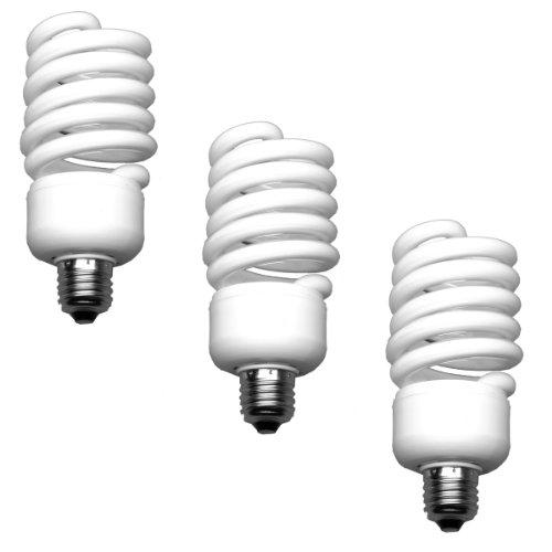 Walimex pro Spiral-Tageslichtlampe 50 W 3er Set - Daylight Spirallampe Fotolampe Energiesparlampe, E27 Fassung, 5500K Tageslicht, 50 W entspricht 250 W Glühbirne, für Softbox und Reflektor