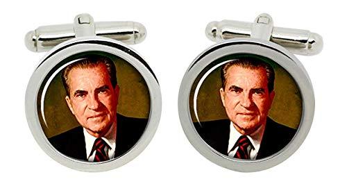 Gift Shop Präsident Richard Nixon Manschettenknöpfe in Chrom Kiste