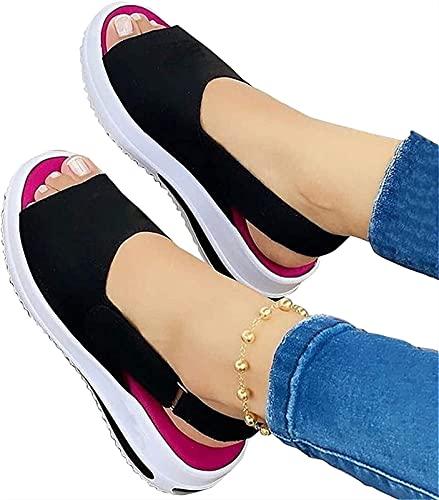 Zapatos de playa casuales para mujer, sandalias para mujer, sandalias ortopédicas con correa de hebilla plana, zapatos de punta abierta antideslizantes para mujer ( Color : Black , Size : EU:40/UK:6 )