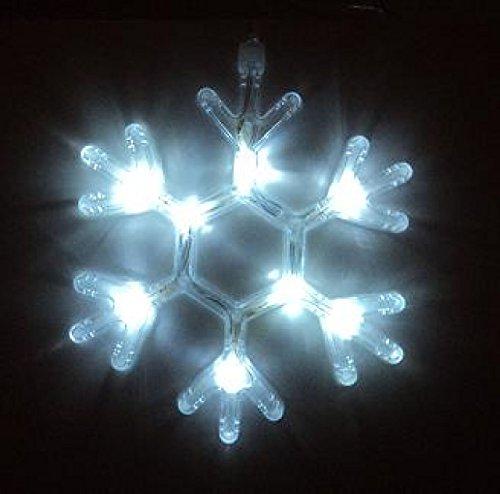 Best Season Sneeuwvlok, raamdecoratie, 8 gouden leds, plastic, wit, 1 x 21 x 19 cm