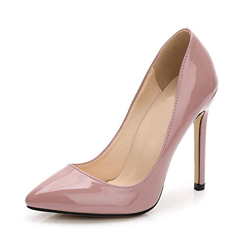 Ochenta Damen Pumps, sexy, High Heels, Pfennigabsatz, aus PU-Leder, für Club, Party, - nude rose - Größe: 35