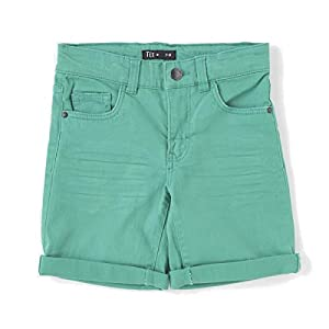 TEX - Pantalón Corto de Color para Niño, Menta, 11-12 años